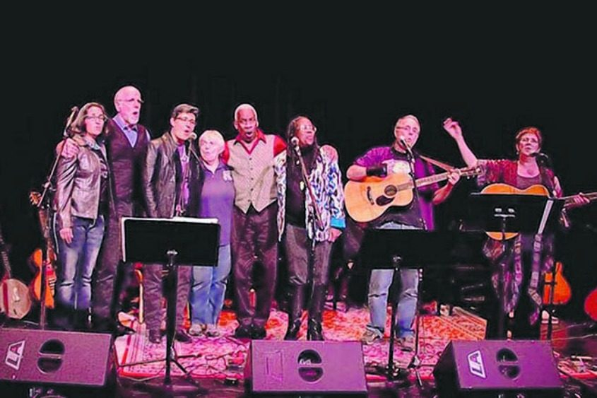 """The """"Rise Again Songbook Release & Community Sing"""" in autumn 2015 at the Eighth Step at Proctors' GE Theatre."""