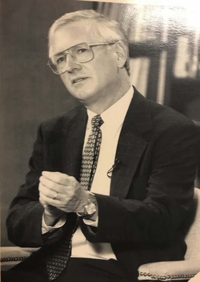 Richard Mills at a visit to Draper Middle School in 1997