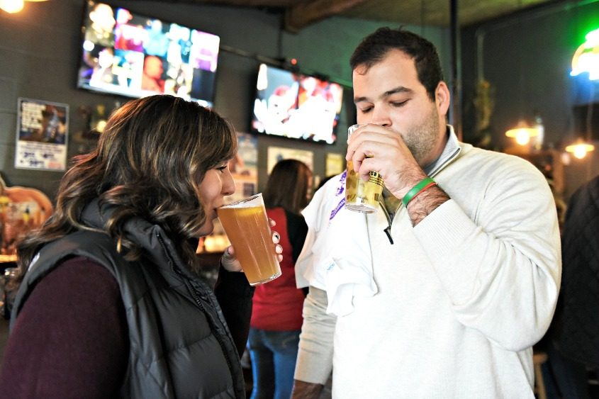 """Angelina Reinisch and Jim Eberle, both of Clifton Park, enjoy a beer during the """"Pints for Preservation"""" Pub Crawl on Saturday."""