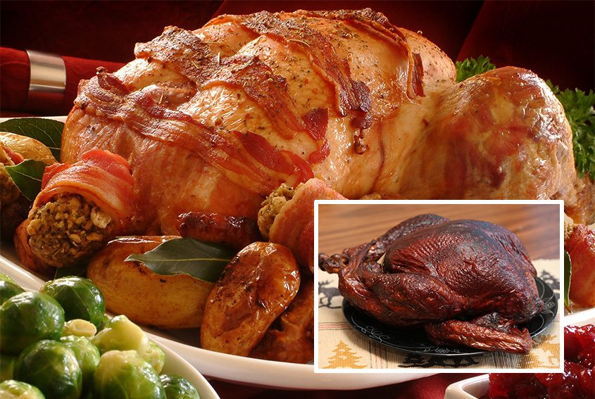 Bacon-wrapped turkey and smoked turkey (inset).
