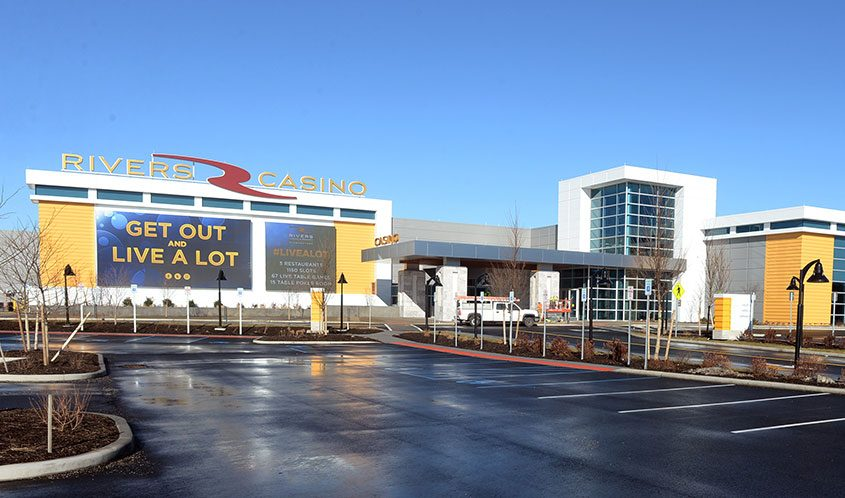 The entrance to the Rivers Casino & Resort at Mohawk Harbor.