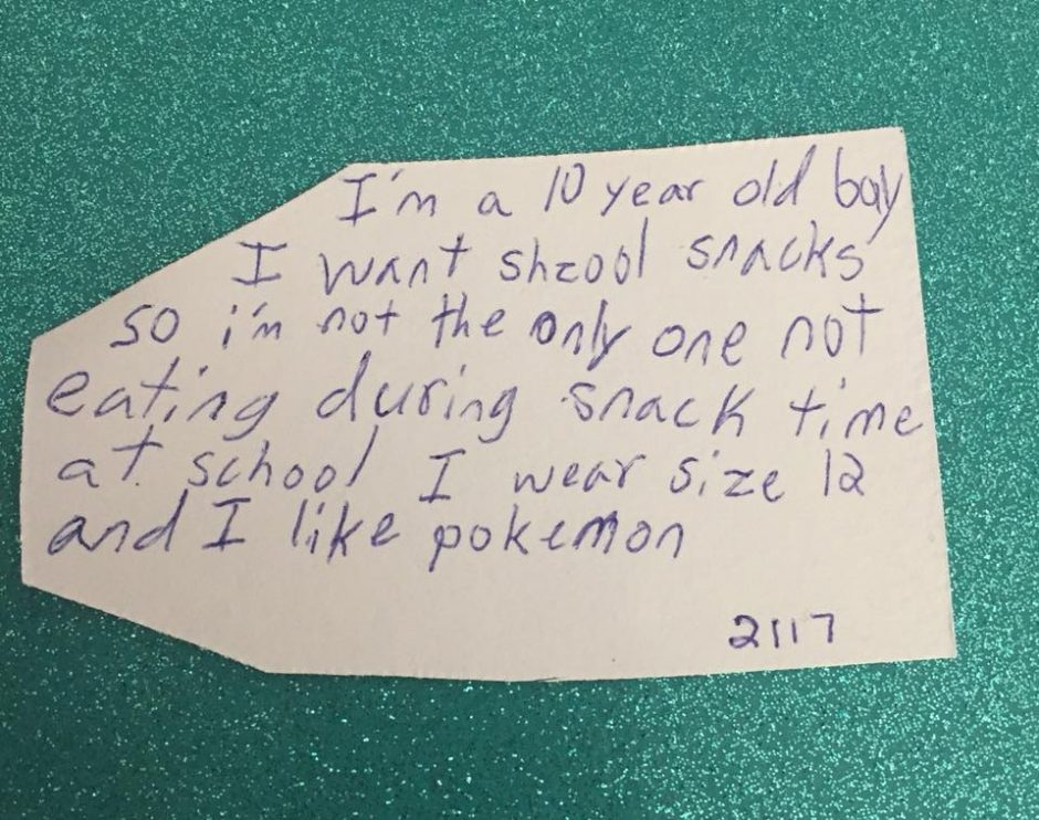 The Christmas gift request written by a 10-year-old boy.