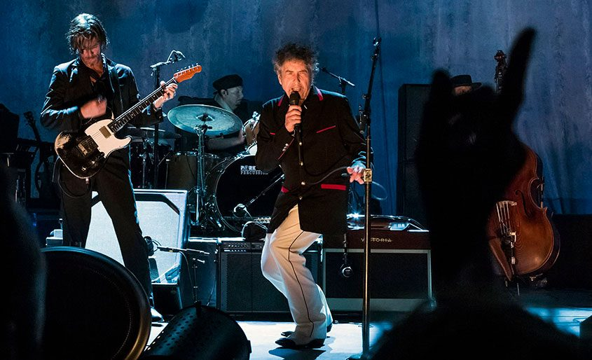 Bob Dylan performs in Port Chester, New York, on Sept. 4, 2012.