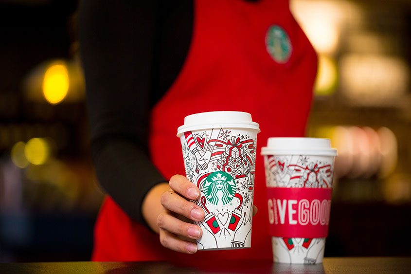 """The interlinked hands on the 2017 Starbucks holiday cups have some suggesting a """"gay agenda."""""""