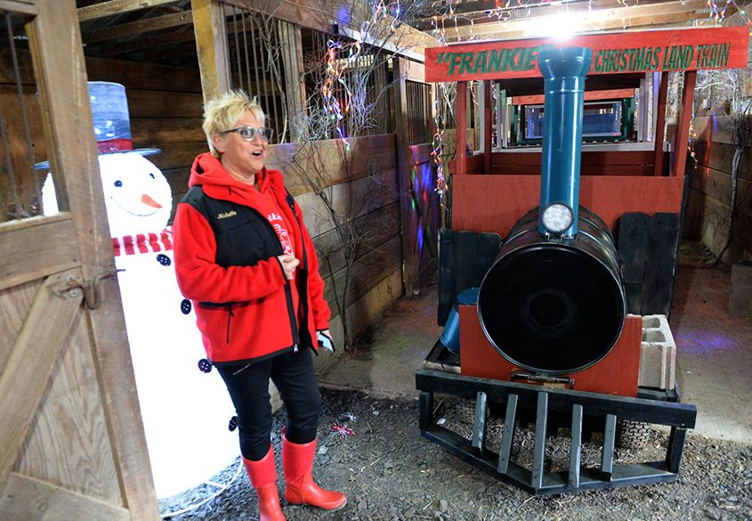 """Michelle Annese explains that """"Frankie"""" the Christmas Land train is named in honor of her late nephew, Frank LoRe."""