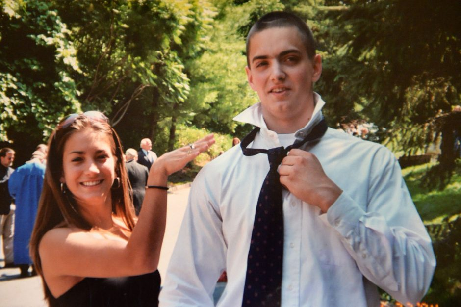 Katie-Lynn Scheidt is pictured with her brother Brandon at his graduation.