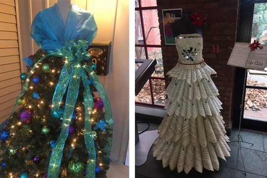 """Two of the """"tree"""" dresses featured at """"Adorn — A Festival of Trees with a Twist."""""""