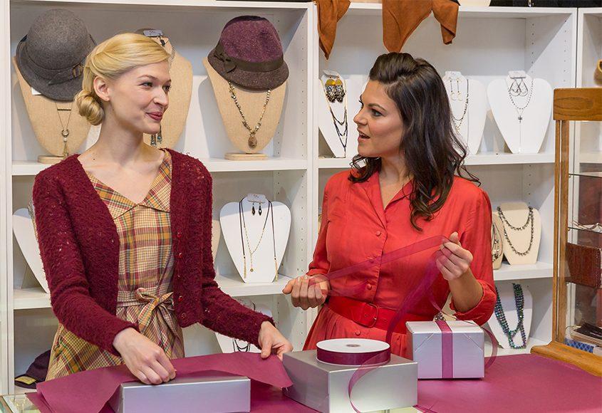 "Julia Burrows (Amalia Balash) and Tracy Jai Edwards (Ilona Ritter) in ""She Loves Me."""