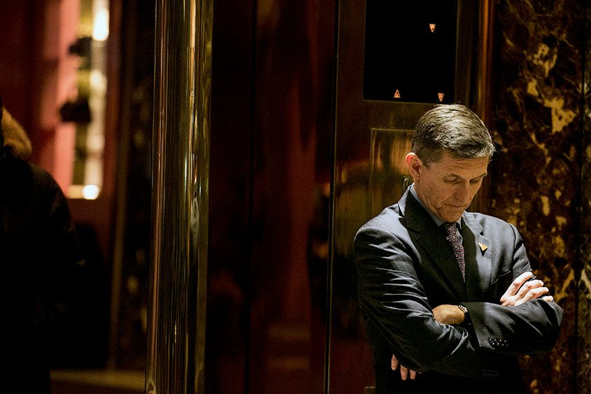 Michael Flynn, then President-elect Donald Trump's choice for National Security Adviser, in the lobby of Trump Tower in 2016.