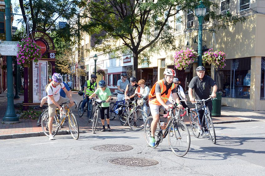 Bike riders met on Jay Street for a meeting of Bike-a-Round Schenectady tour in September 2015.