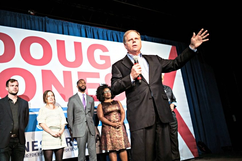 Doug Jones speaks at a campaign rally in Birmingham, Ala., prior to Tuesday's election.