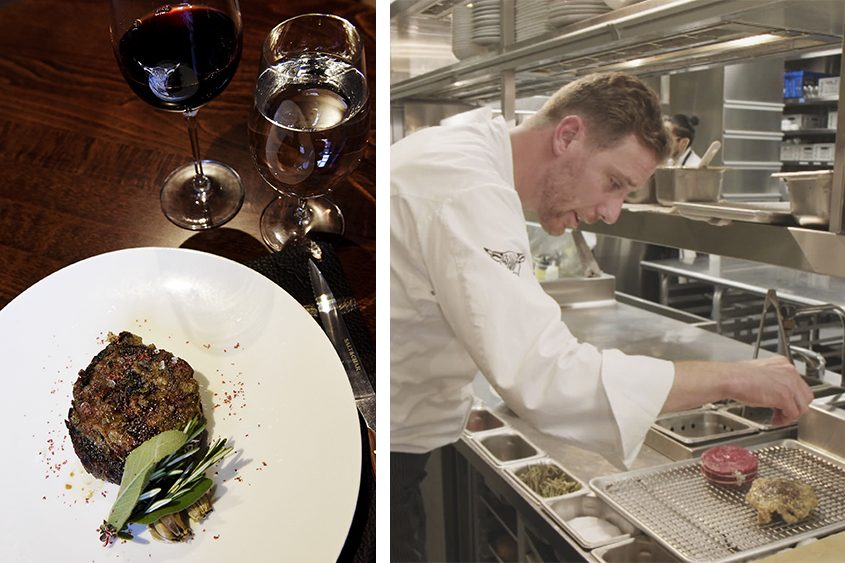 Salt & Char's Executive Chef Braden Reardon and his American Wagyu Ribeye dish.