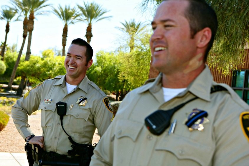 Detective Casey Clarkson (right) and his twin brother, Sgt. Branden Clarkson, both of the Las Vegas Police Department.