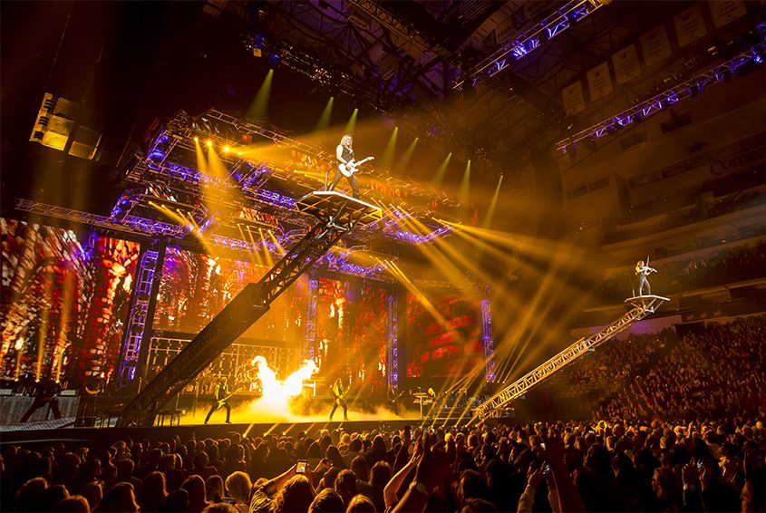 Musicians perform high over the audience in this photo from a past Trans-Siberian Orchestra concert.