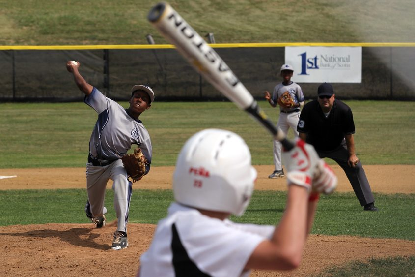 Babe Ruth baseball action in 2013, on the newly dubbed M. Joe Landry Fields in Blatnick Park.