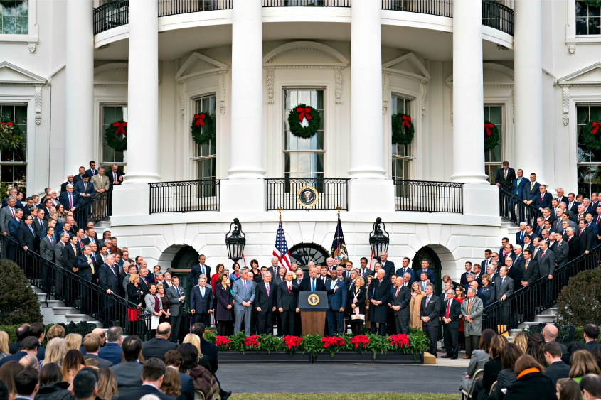President Donald Trump speaks during an event marking the passage of the Republican tax bill at the White House in Washington.