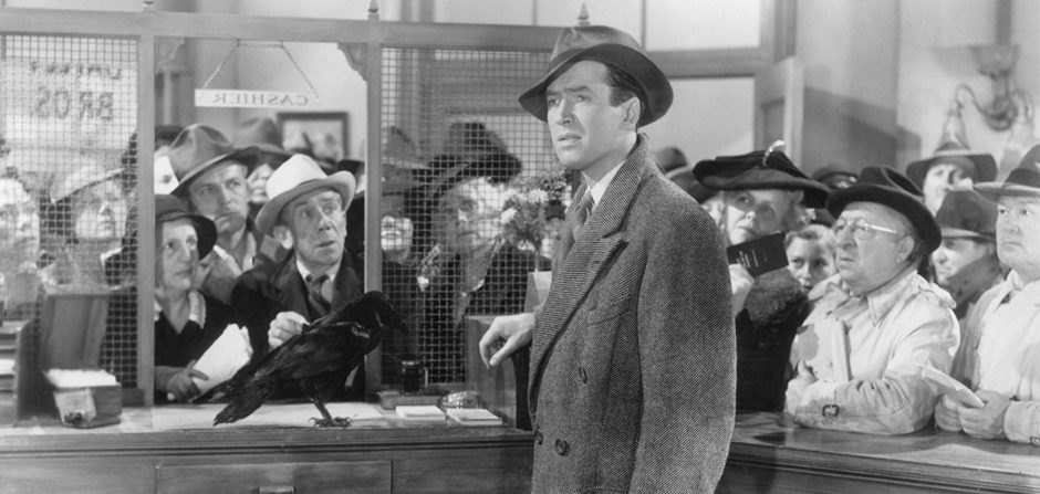 "Jimmy Stewart as George Bailey in Frank Capra's ""It's a Wonderful Life."""