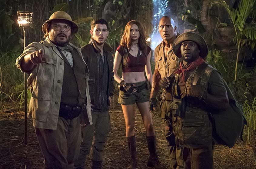 "Jack Black, Nick Jonas, Karen Gillan, Dwayne Johnson and Kevin Hart star in the film, ""Jumanji: Welcome to the Jungle."""
