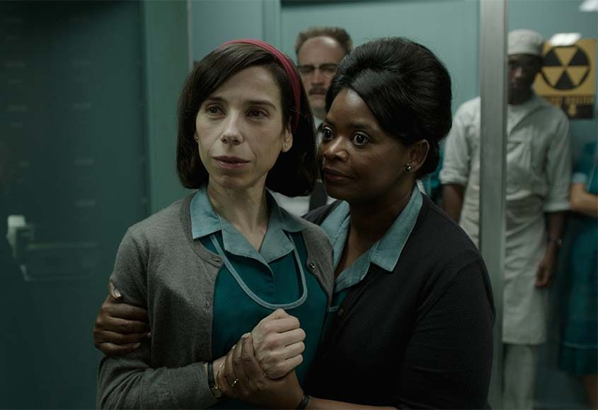 """Sally Hawkins, left, and Octavia Spencer in the film, """"The Shape of Water."""""""