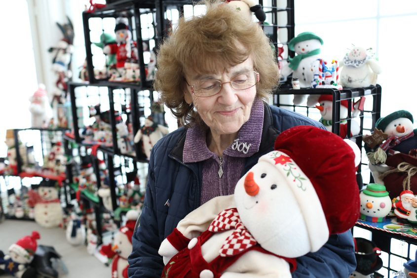 Rosalie Stafford of Scotia displays her late sister Patricia Coppolo Hoeth's snowman collection.