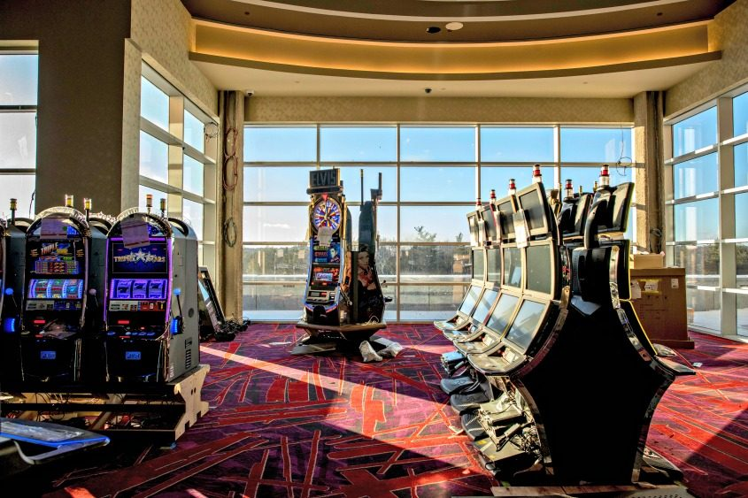 Electronic slot machines at the Resorts World Catskills, which is looking to open in February, in Monticello.