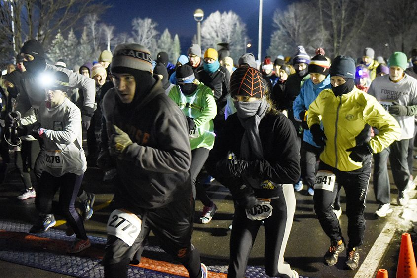 The start of the 20th annual First Night Saratoga 5K at Skidmore College on Sunday.