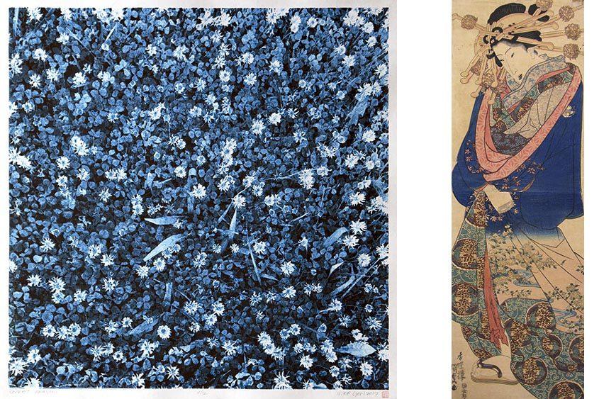 """Secret Garden"" (left) by Mike Lyon, and ""Untitled Woman"" by Utagawa Kunisada."