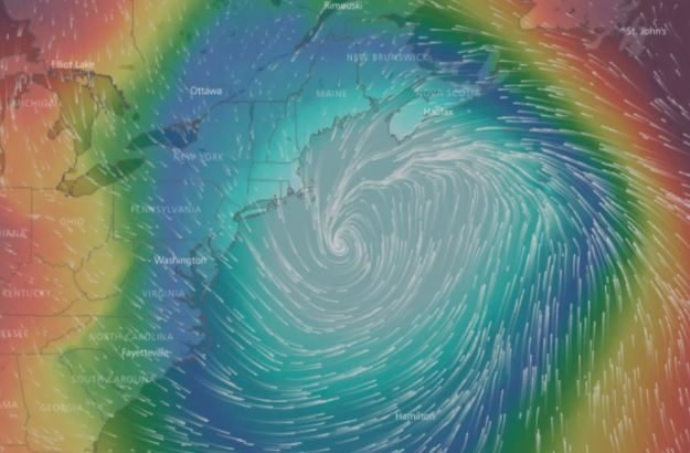 Pressure and wind visualization of the storm off the coast of New England on Thursday.