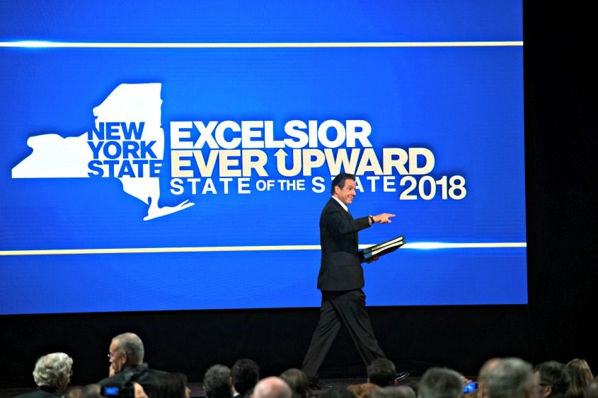 Gov. Andrew Cuomo arrives to deliver the 2018 State of the State address Wednesday in Albany.