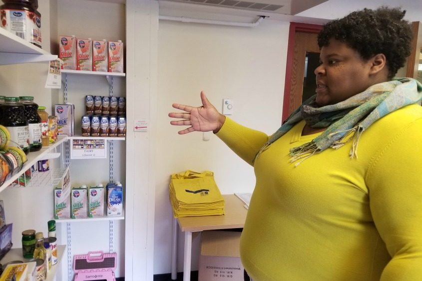 SCCC professor Alicia Richardson talks food insecurity while showing the pantry on campus for students and staff.