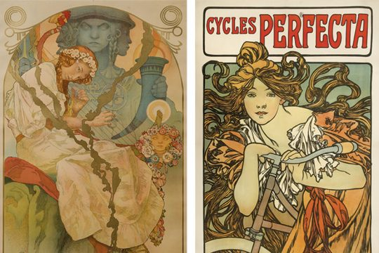 """Left: A piece from Alphonse Mucha's """"The Slav Epic""""; right: The artist's """"Cycles Perfecta."""""""