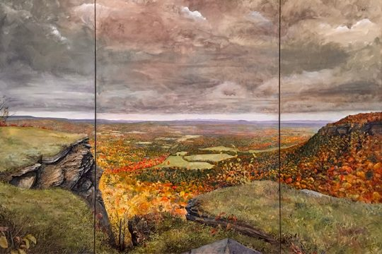 """""""Albany, Schenectady and Troy from Thacher Park Overlook-Big Fall,"""" by Gail Kort."""