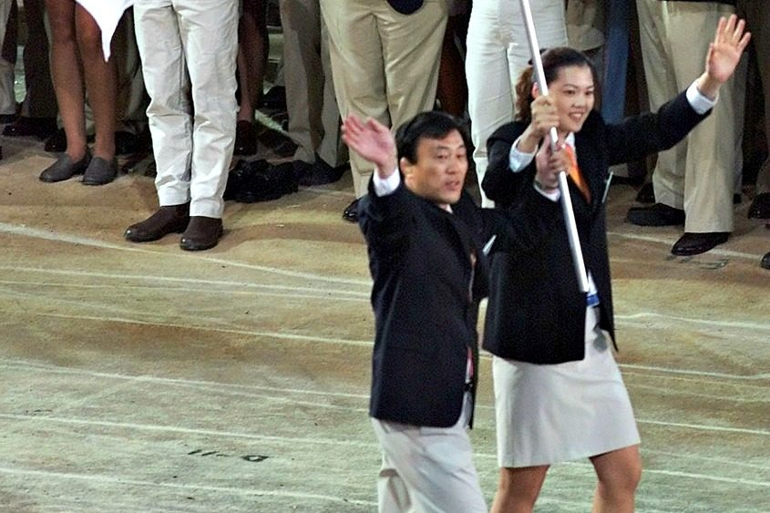 North and South Korea marched with a unified emblem of the two Koreas during the opening ceremony of Summer Olympics in Sydney.