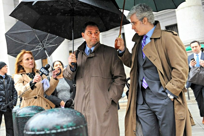 Joseph Percoco (center), a former adviser and close friend to Gov. Andrew Cuomo, exits court in New York on April 6, 2017.