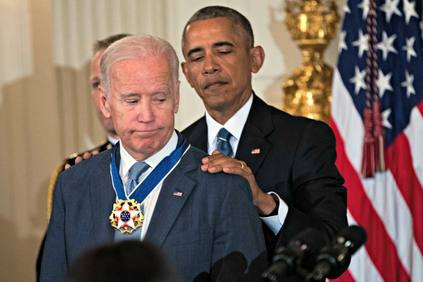 An emotional Vice President Joe Biden is awarded the Presidential Medal of Freedom by Barack Obama.