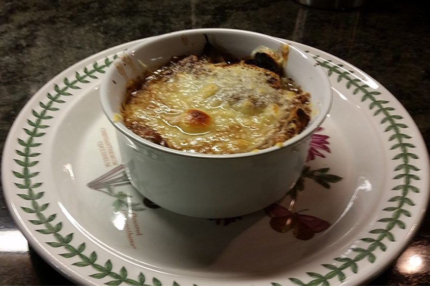 Finished French Onion Soup, thanks to Mom's recipe and a few modifications.