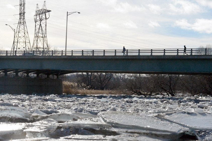 Huge ice chunks can be seen on the banks of the Mohawk River on Wednesday near Jumpin' Jack's in Scotia.