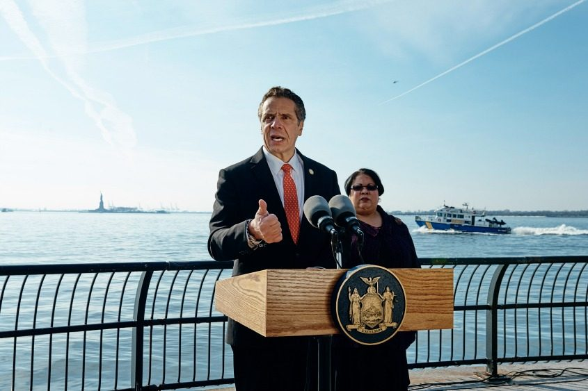 Gov. Andrew Cuomo holds a news conference at Battery Park in Manhattan on Jan. 21, 2018.