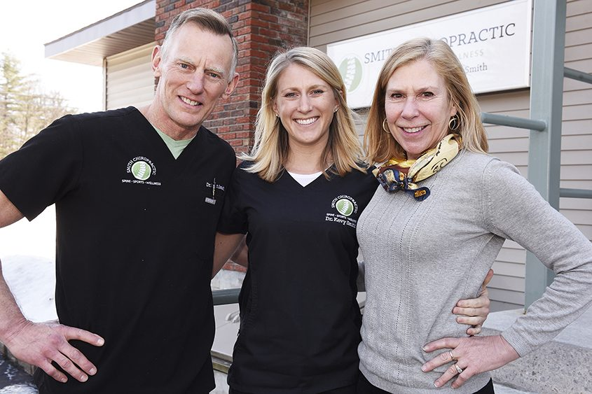 Dr. Matt Smith (from left), daughter Dr. Kevy Smith and wife Joanie Smith outside their chiropractic office in Saratoga Springs.