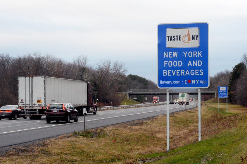 New York tourism sign along the Thruway westbound between exit 25 and 25A.