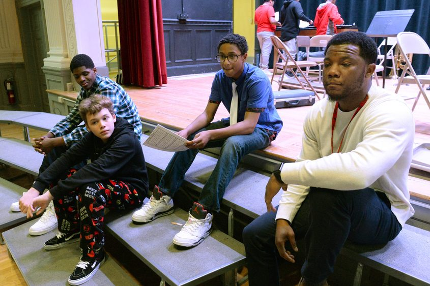 Oneida Middle School eighth-graders (from left) Moses Grant, Xavier Colon and Will Reid, as well as Brian Ledbetter.