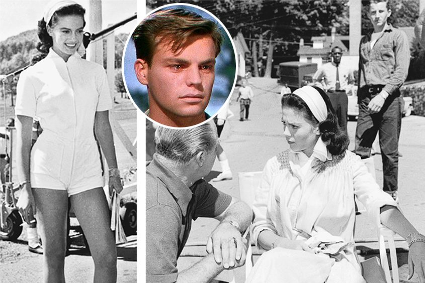 "Natalie Wood on the set of ""Marjorie Morningstar"" in Schroon Lake in 1957; inset: a young Robert Wagner."
