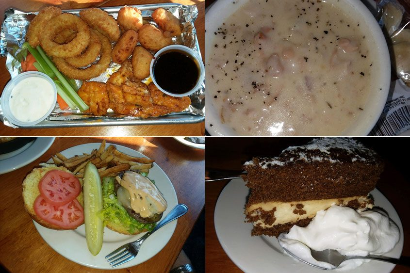 Clockwise from top left: The tavern sampler, a cup of clam chowder, a slice of ginger cake and the Inferno Burger.