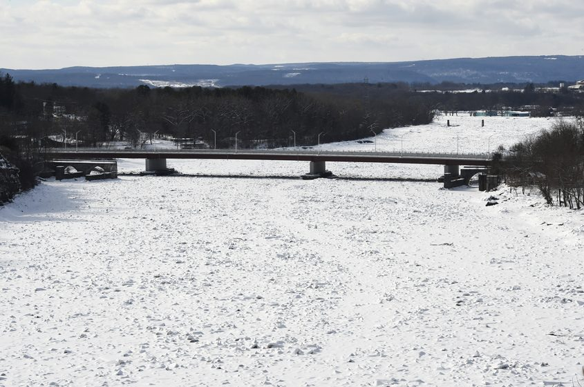 The ice jam can be seen from Riverview Road looking toward the Rexford Bridge on Thursday.
