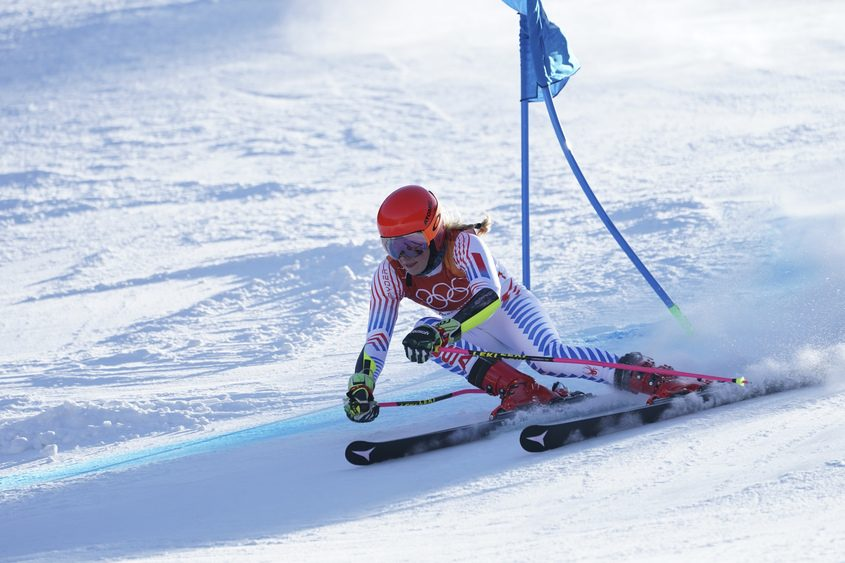 Mikaela Shiffrin of the U.S. competes in the morning run of the ladies' giant slalom on Thursday.