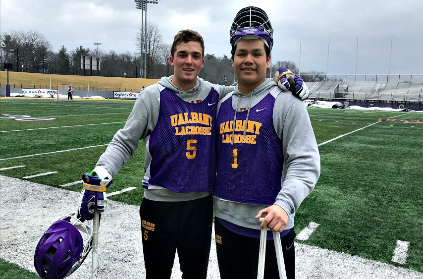 UAlbany men's lacrosse's Connor Fields, left, and Tehoka Nanticoke are shown Friday in Albany.