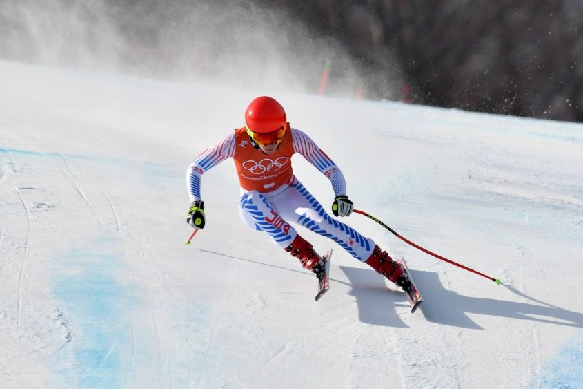 Mikaela Shiffrin during training Monday for the ladies' downhill Alpine skiing race.