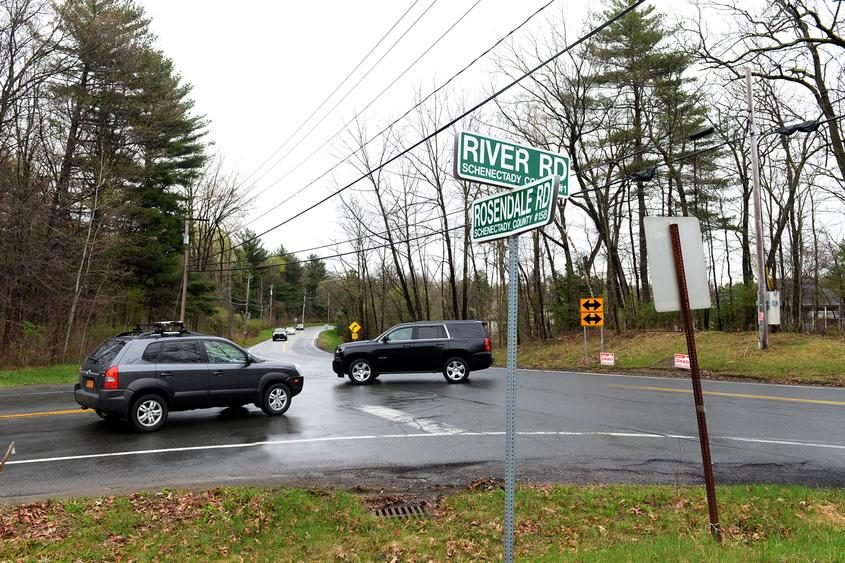 Traffic in April at the intersection of River and Rosendale roads in Niskayuna.