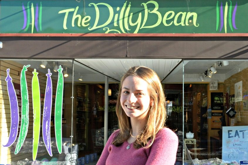 The DillyBean owner Abby Rockmacher in front of her Jay Street business.
