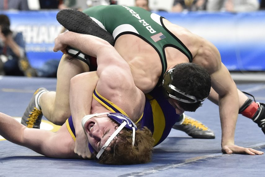 Ballston Spa's Tyler Barnes takes on Brewster's Grant Cuomo in the 170-pound final at Times Union Center on Saturday.